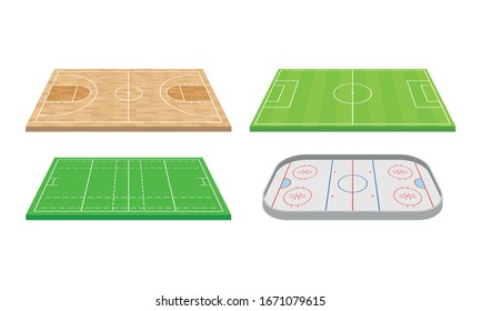 Playing Fields for Sport Games Like Football Vector Set