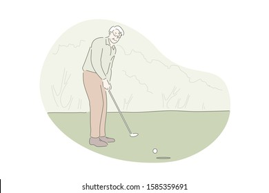 Playing golf, active rest, outdoor activity concept. Old man on golf course hitting ball with club. Retiree enjoying open air recreation. Pensioners active lifestyle. Simple flat vector
