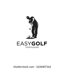 playing golf silhouette logo illustrations