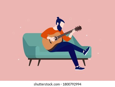 Playing guitar in couch at home. Young man with beard practicing acoustic guitar instrument alone. Vector illustration.