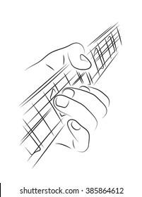 Playing guitar. Left hand string bending.