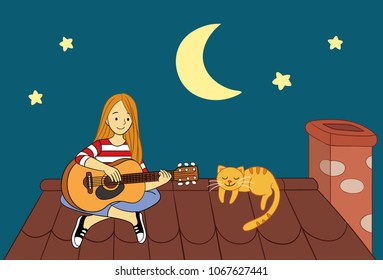 Playing Guitar on the Roof Vector Illustration for many purpose such as print on canvas, pillow case, bag, textile, and stationery (note book, purse, pencil case, laptop case, etc).