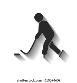 Playing hockey vector icon