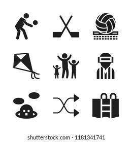 playing icon. 9 playing vector icons set. whack a mole, volleyball and handball icons for web and design about playing theme