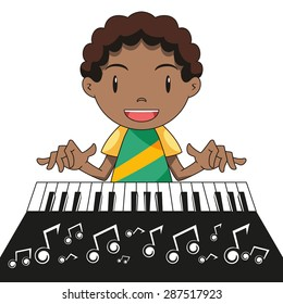 Playing keyboard, happy kid, vector illustration