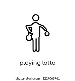 Playing Lotto icon. Trendy modern flat linear vector Playing Lotto icon on white background from thin line Activity and Hobbies collection, editable outline stroke vector illustration