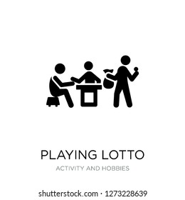 playing lotto icon vector on white background, playing lotto trendy filled icons from Activity and hobbies collection, playing lotto simple element illustration