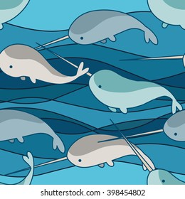 playing narwhals on wave background seamless pattern
