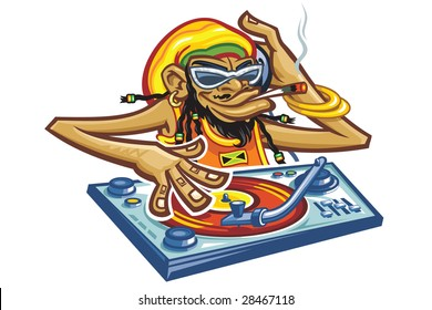 Playing a record and smoking   cigarette a cartoon comic Dj monkey with glasses and jamaica hat