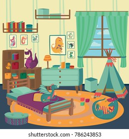 Playing room for boy with dragon toys, cozy kids interior with cute toys and furniture vector Illustration