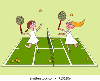 Playing tennis - vector