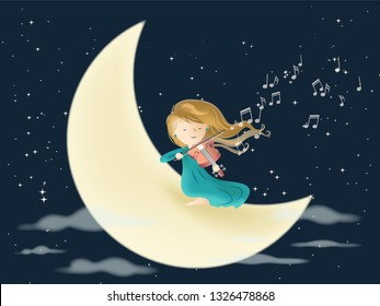 Playing violin on the moon in night with many stars - Love and passion for music vector illustration