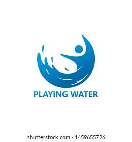 Playing Water Logo Template Design Vector, Emblem, Design Concept, Creative Symbol, Icon