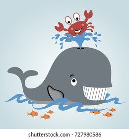 playing water with whale and crab, vector cartoon illustration