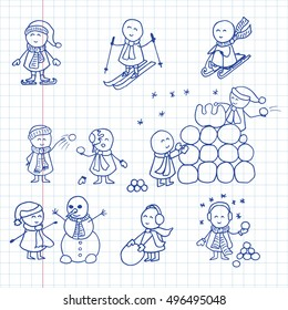 Playing winter outdoor. Cute kids making the snowman, playing in snowballs, sledding. Funny doodle character. Vector illustration on notebook sheet.