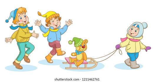 Сhildren are playing in winter. Two boys and a girl with teddy bear on the sledge.