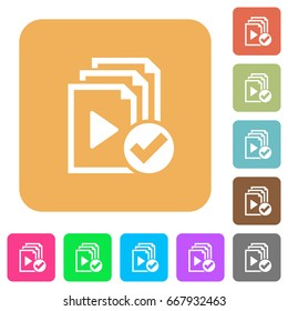 Playlist done flat icons on rounded square vivid color backgrounds.