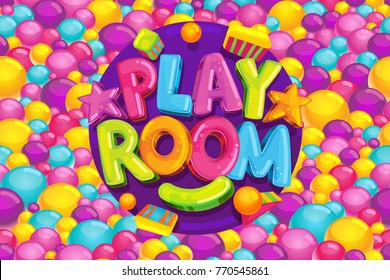 Playroom cartoon kids vector illustration. Color logo on a background of a pool with balls. Toys and games.