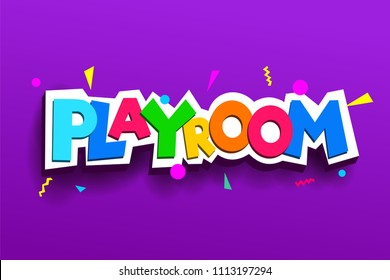 Playroom kids colorful logos. Children Playground. Banner design cartoon fun vector illustration. Isolated on a violet background