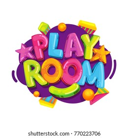 Playroom kids logo. Vector cartoon isolated fun illustration