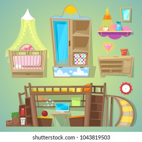 Playroom vector children furniture bed in furnished interior of babyroom illustration set of furnishings design for kids room at home isolated on background