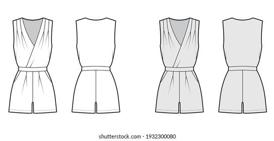 Playsuit romper overall jumpsuit technical fashion illustration with mini length, normal waist, high rise, pockets, single pleat. Flat front back, white, grey color style. Women, men unisex CAD mockup