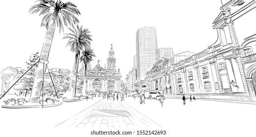 Plaza de Armas. Santiago. Chile. South America. Urban sketch. Hand drawn vector illustration