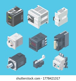 PLC basic set, expansion, factory robot, programmable, equipment, factory control,  isometric, development