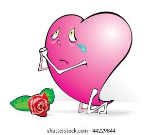 pleading heart on knees