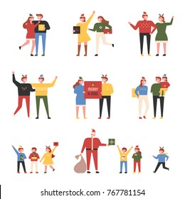 Pleasant characters of family, couple, and friends enjoying Christmas party. vector illustration flat design