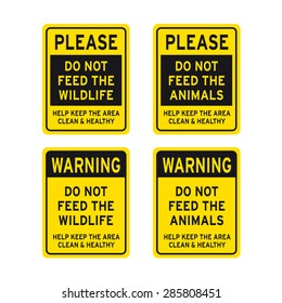 Please do not feed the wildlife animals sign vector set