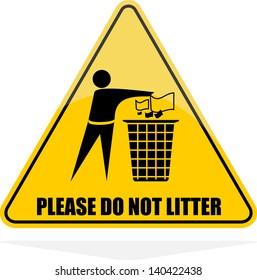 Please Do not litter, icon vector