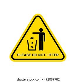 Please do not litter Sign. Vector