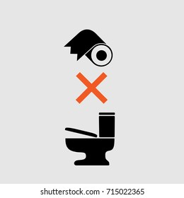 please do not throw paper towels in the toilet signage.icon.symbol.vector.illustration.