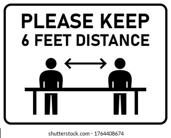 Please Keep 6 Feet Distance Horizontal Warning Sign Showing Socially Distancing Workers While Working. Vector Image.
