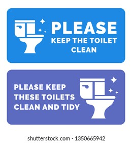 Please keep the toilets clena flat design informational plate. Vector illustration.