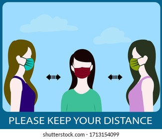 Please Keep Your Distance, sign flat vector social distancing, people wearing medical masks to prevent disease, flu, air pollution,coronavirus,covid-19