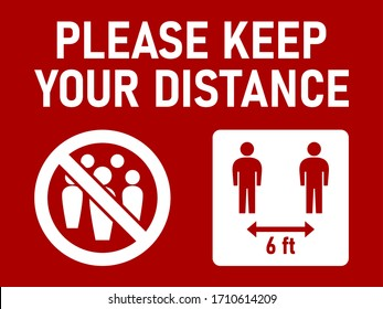 Please Keep Your Distance Social Distancing 6 Feet Instruction Icon against the Spread of the Novel Coronavirus Covid-19. Vector Image.