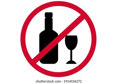 Please No drink or alcohol sign, silhouette of a bottle and glass, vector illustration