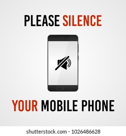 Please silence your mobile phone vector sign.