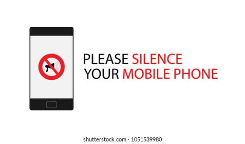 Please silence your mobile phone vector sign or label