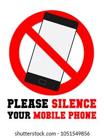 Please silence your mobile phone vector label or sign for in library or worship place