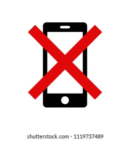 'Please silence your mobile phone' vector icon on isolated background. Variant No. 1