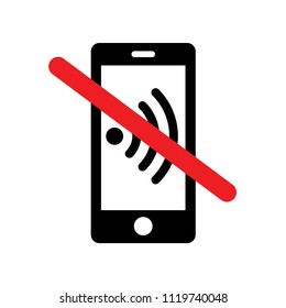 'Please silence your mobile phone' vector icon on isolated background. Variant No. 5