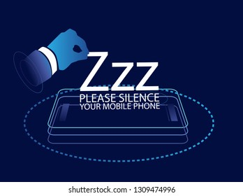 Please silence your mobile phone vector label or sign for in library or worship place with digital theme