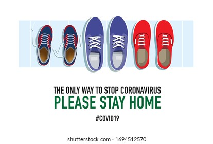 Please stay home. Family shoes near the front door. Creative typography poster concept for quarantine against epidemic covid-19. Warning illustration on white background.