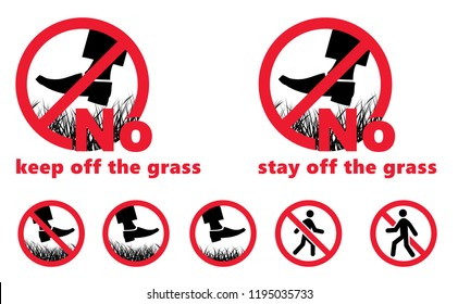 Please stay off the lawn Keep off the grass Stay off the grass No Ban stop Vector hiking fun funny Green Do not enter no entry signs sign walking walk stop garden steps no stop Caution Swearing Icons