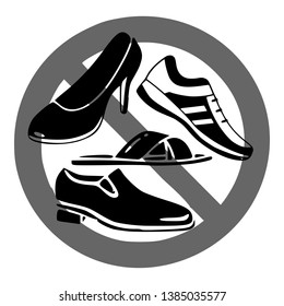 Please take off your shoes sign, icon, logo, symbol. Template isolated on white background. 2D flat Style graphic design. Black and white color. Vector EPS10