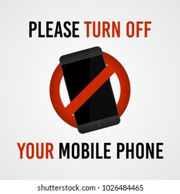 Please turn off your mobile phone, vector sign.