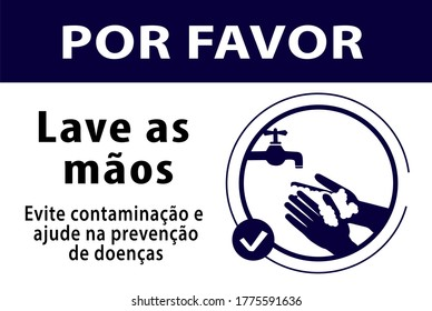 please wash your hands sign, avoid contamination and help prevent diseases, written in portuguese, vector illustration